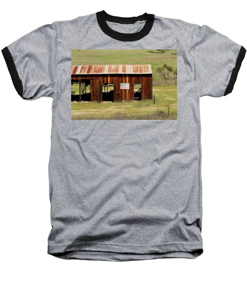 Baseball T-Shirt featuring the photograph Rustic Barn With Flag by Art Block Collections