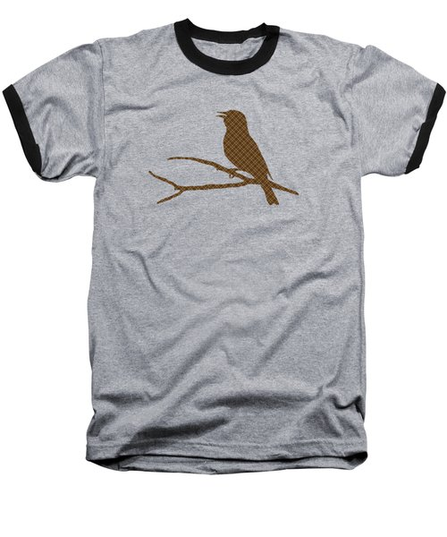 Rustic Brown Bird Silhouette Baseball T-Shirt by Christina Rollo