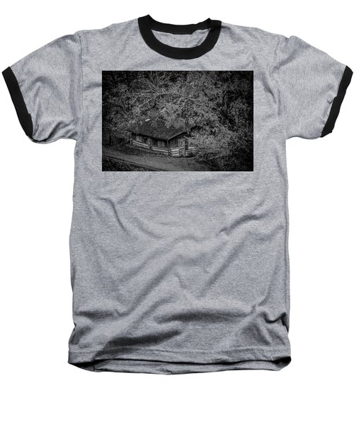 Rustic Log Cabin In Black And White Baseball T-Shirt by Kelly Hazel