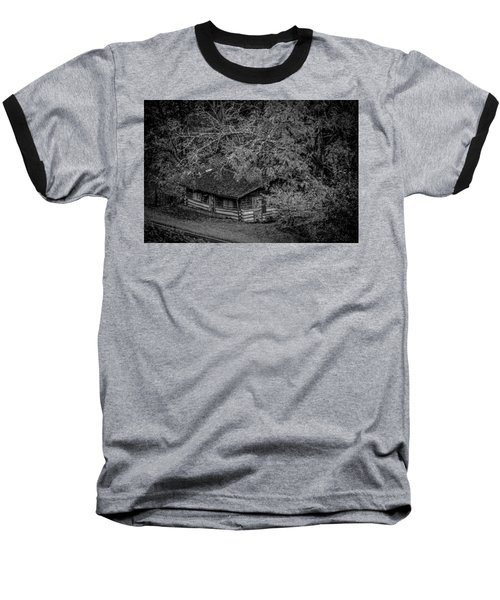 Rustic Log Cabin In Black And White Baseball T-Shirt