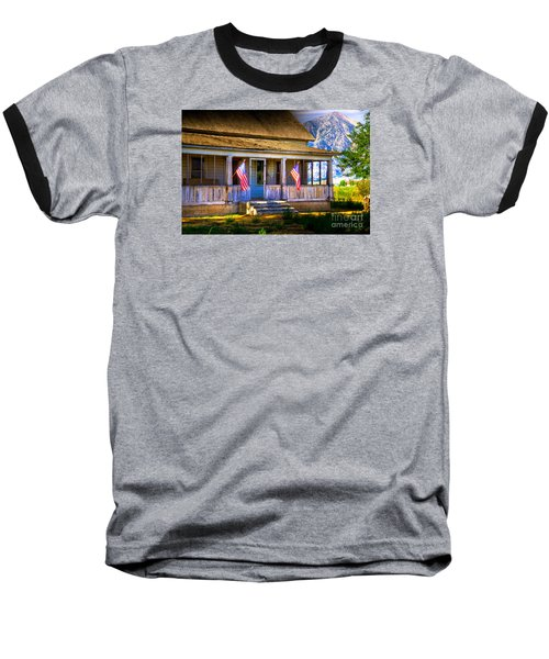 Baseball T-Shirt featuring the photograph Rustic Patriotic House by Kelly Wade