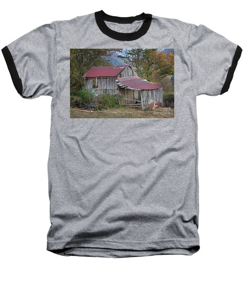 Baseball T-Shirt featuring the photograph Rustic Weathered Hillside Barn by John Stephens