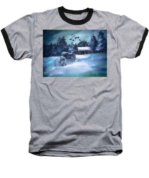 Rustic Winter Barn  Baseball T-Shirt by Michele Carter