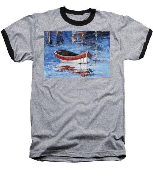 Rusty Brown Blues Baseball T-Shirt by Trina Teele