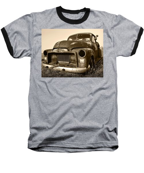 Rusty But Trusty Old Gmc Pickup Truck - Sepia Baseball T-Shirt by Gordon Dean II