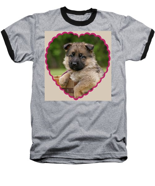 Baseball T-Shirt featuring the photograph Sable Puppy In Heart by Sandy Keeton
