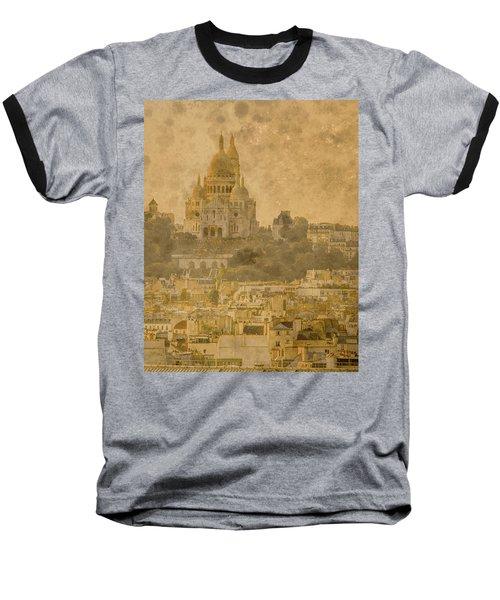 Paris, France - Sacre-coeur Oldplate Baseball T-Shirt