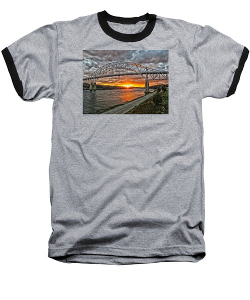 Baseball T-Shirt featuring the photograph Sagamore Bridge Sunset by Constantine Gregory