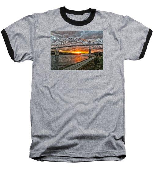 Sagamore Bridge Sunset Baseball T-Shirt by Constantine Gregory