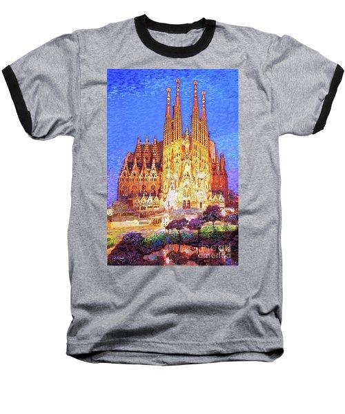 Sagrada Familia At Night Baseball T-Shirt