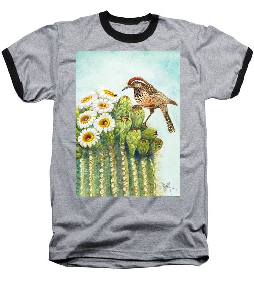 Baseball T-Shirt featuring the painting Saguaro And Cactus Wren by Marilyn Smith
