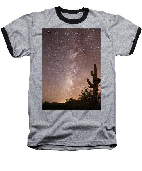 Saguaro Cactus And Milky Way Baseball T-Shirt
