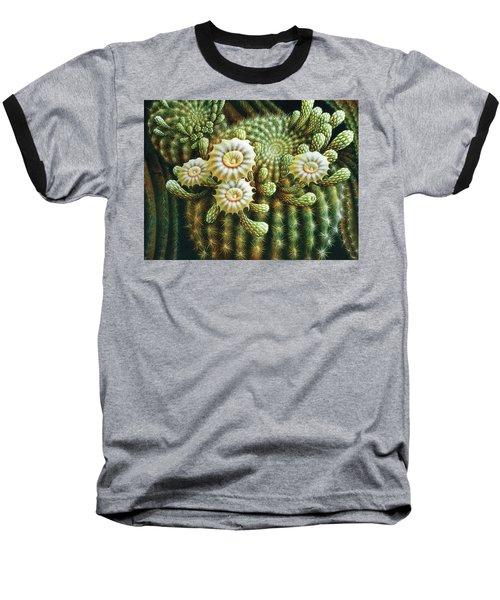 Saguaro Cactus Blossoms Baseball T-Shirt by James Larkin