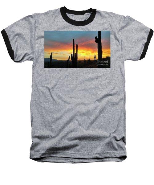 Saguaro Sunset Baseball T-Shirt by Anthony Citro