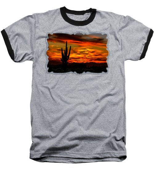 Saguaro Sunset H51 Baseball T-Shirt by Mark Myhaver