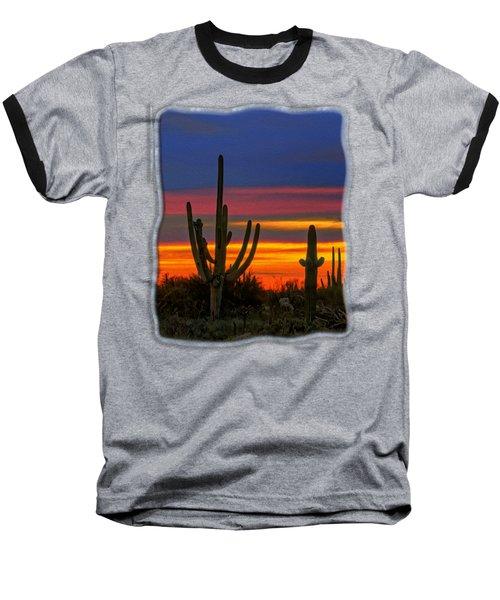 Saguaro Sunset V31 Baseball T-Shirt by Mark Myhaver