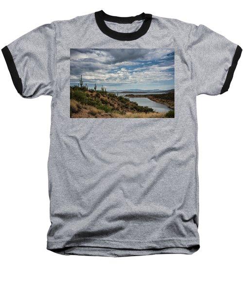 Baseball T-Shirt featuring the photograph Saguaro With A Lake View  by Saija Lehtonen