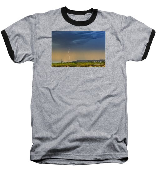 Saguaro With Lightning Baseball T-Shirt