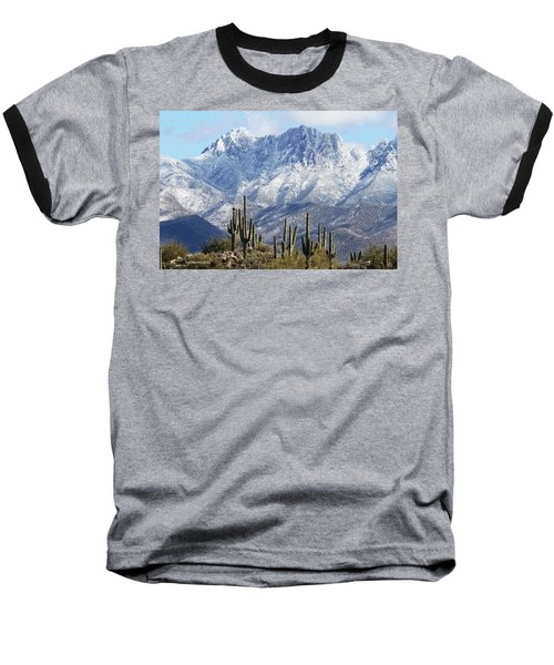 Saguaros At Four Peaks With Snow Baseball T-Shirt by Tom Janca