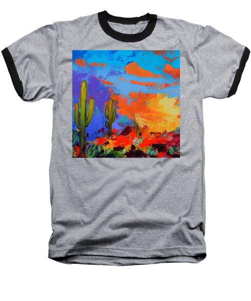 Saguaros Land Sunset By Elise Palmigiani - Square Version Baseball T-Shirt