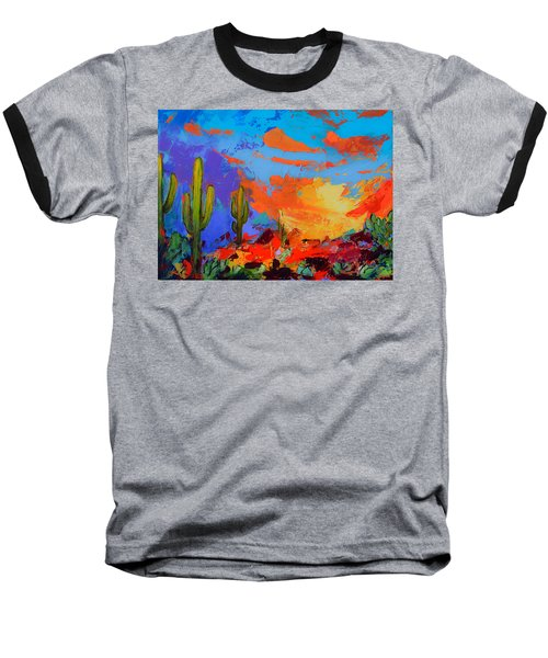 Saguaros Land Sunset Baseball T-Shirt
