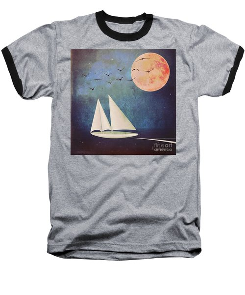 Baseball T-Shirt featuring the digital art Sail Away by Alexis Rotella
