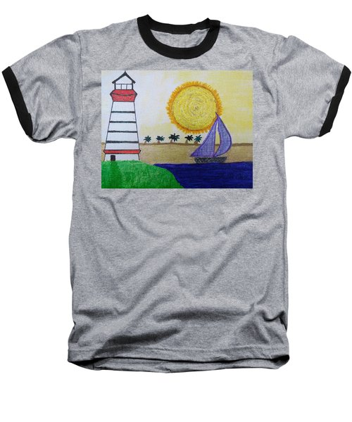 Sail Boat With Purple Sails Baseball T-Shirt