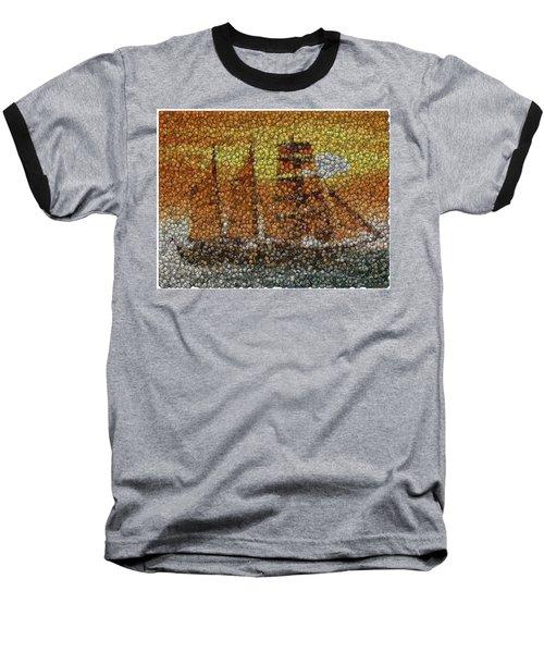 Baseball T-Shirt featuring the mixed media Sail Ship Coins Mosaic by Paul Van Scott