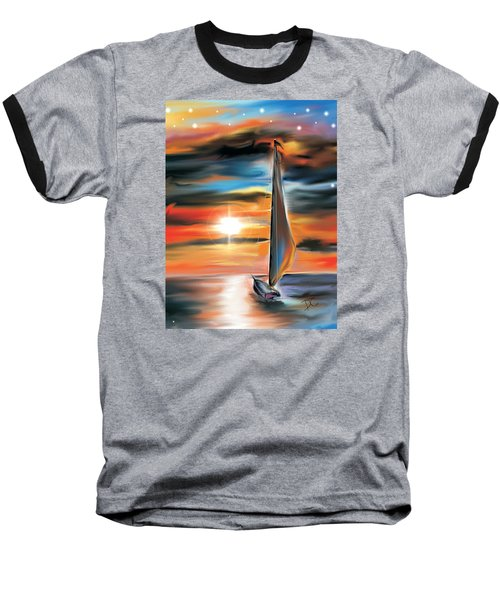 Sailboat And Sunset Baseball T-Shirt by Darren Cannell