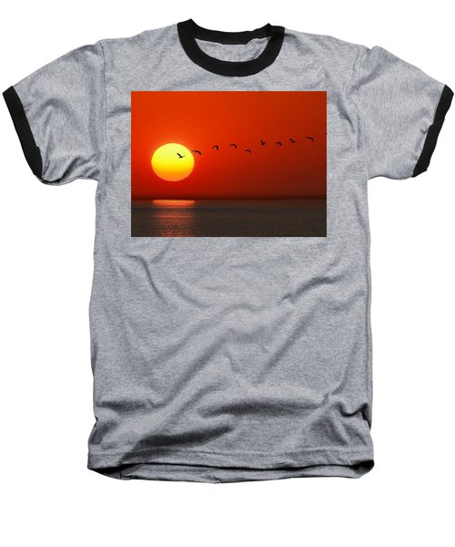 Baseball T-Shirt featuring the photograph Sailboat At Sunset by Joe Bonita
