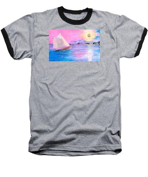 Sailboat In Pink Moonlight  Baseball T-Shirt by Robin Maria Pedrero