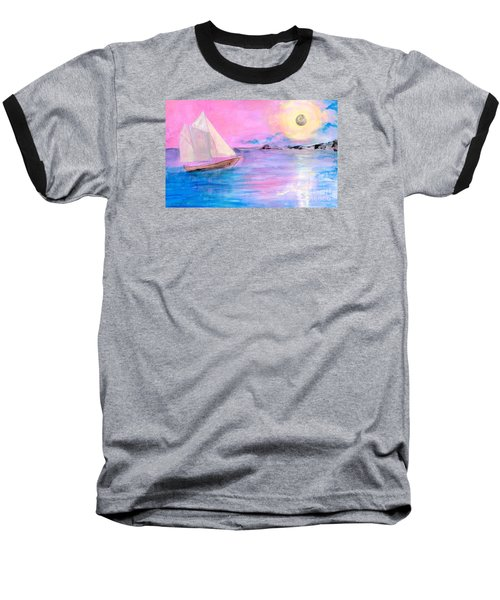 Sailboat In Pink Moonlight  Baseball T-Shirt
