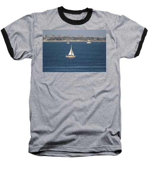 Sailboat On The Pacific In Long Beach Baseball T-Shirt