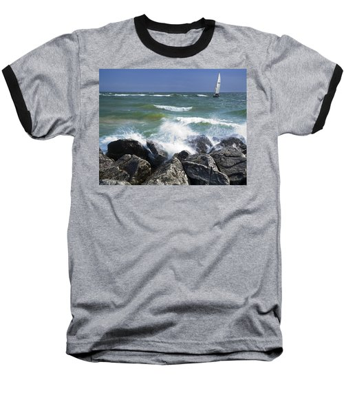 Sailboat Sailing Off The Shore At Ottawa Beach State Park Baseball T-Shirt