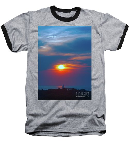 Sailboat Sunset Baseball T-Shirt