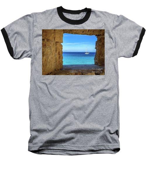 Sailboat Through The Old Stone Walls Of Rhodes, Greece Baseball T-Shirt