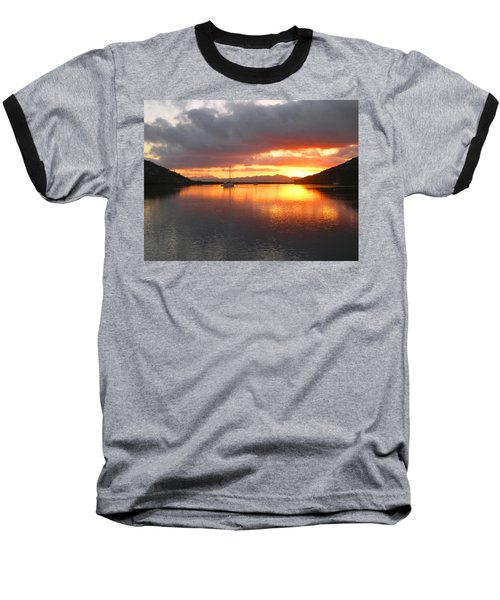 Sailboats At Sunrise In Puerto Escondido Baseball T-Shirt by Anne Mott