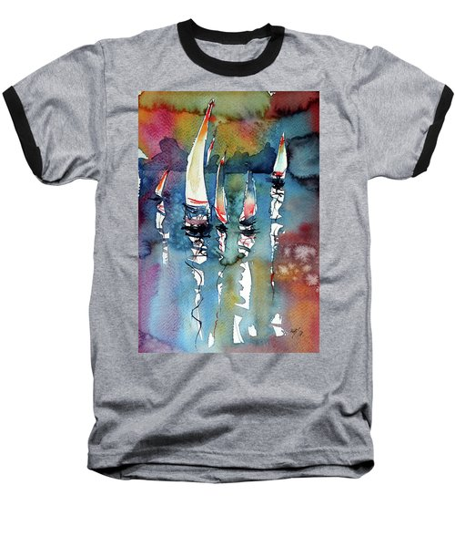 Sailboats II Baseball T-Shirt by Kovacs Anna Brigitta