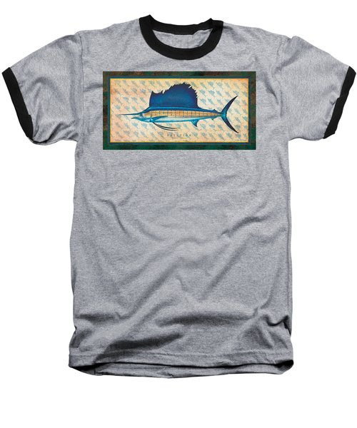 Baseball T-Shirt featuring the painting Sailfish by Jon Q Wright