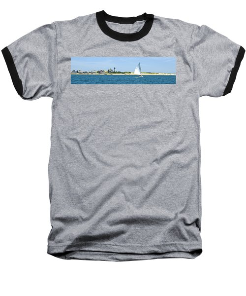 Sailing Around Barnstable Harbor Baseball T-Shirt by Charles Harden