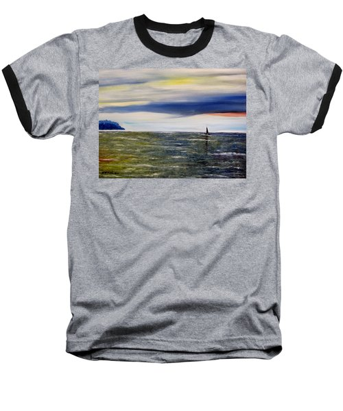 Baseball T-Shirt featuring the painting Sailing At Dusk by Marilyn  McNish