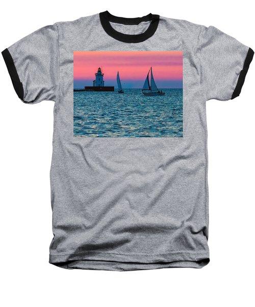Sailing At The Cleveland Lighthouse  Baseball T-Shirt