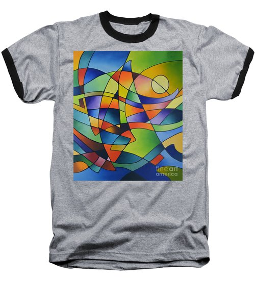 Sailing Away, Canvas Two Baseball T-Shirt by Sally Trace