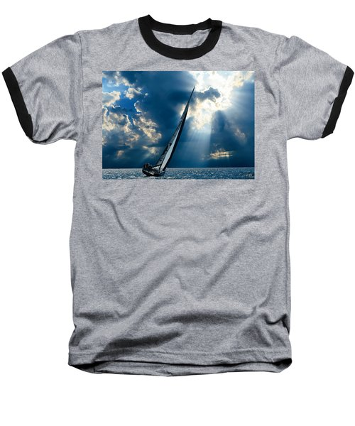 Sailing Boats At Sea , Photography , Baseball T-Shirt
