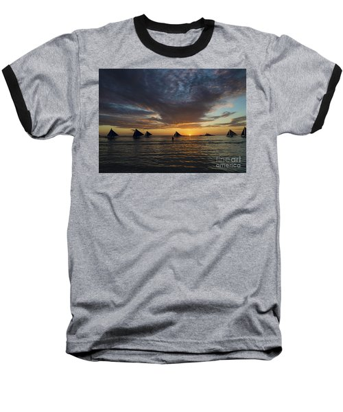 Sailing Boats At Sunset Boracay Tropical Island Philippines Baseball T-Shirt