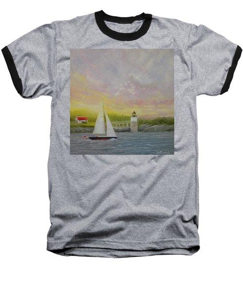 Sailing By Ram Island Baseball T-Shirt