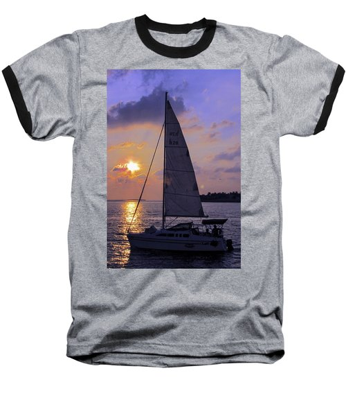 Sailing Home Sunset In Key West Baseball T-Shirt