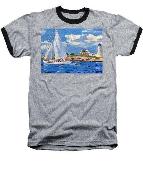 Sailing Past Wood Island Lighthouse Baseball T-Shirt
