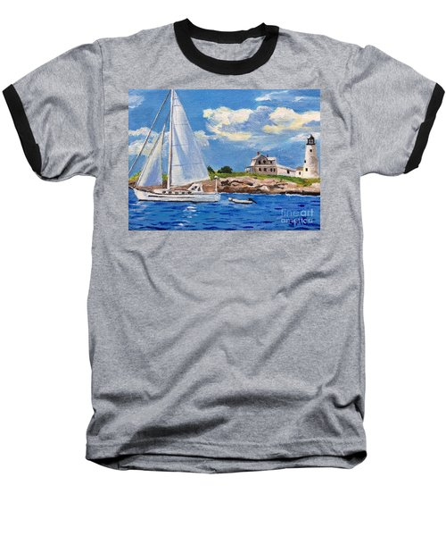 Sailing Past Wood Island Lighthouse Baseball T-Shirt