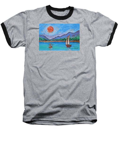 Baseball T-Shirt featuring the painting Sailing Red Sun by Xueling Zou